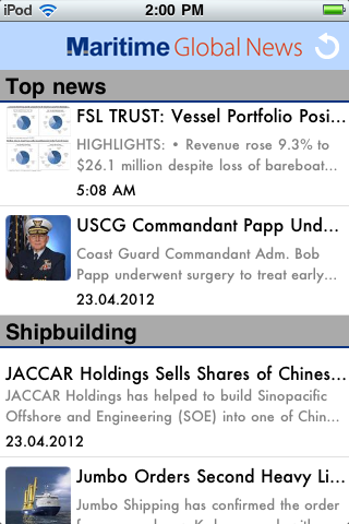 Maritime Global News App Home